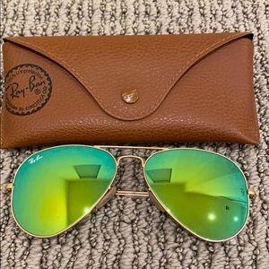 Ray-Ban Aviator Flash sunglasses green mirror lens
